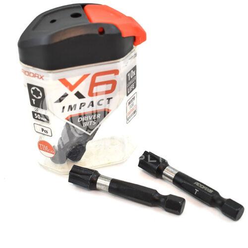 T40 BIT ADDAX IMPACT DRIVER BITS SCREWDRIVER INSERT TORX BIT 50mm X6