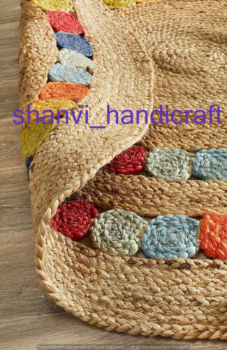 Natural Round Braided /& Multi Colour Jute Mat Rugs Floor Shabby Chic Indian Mat