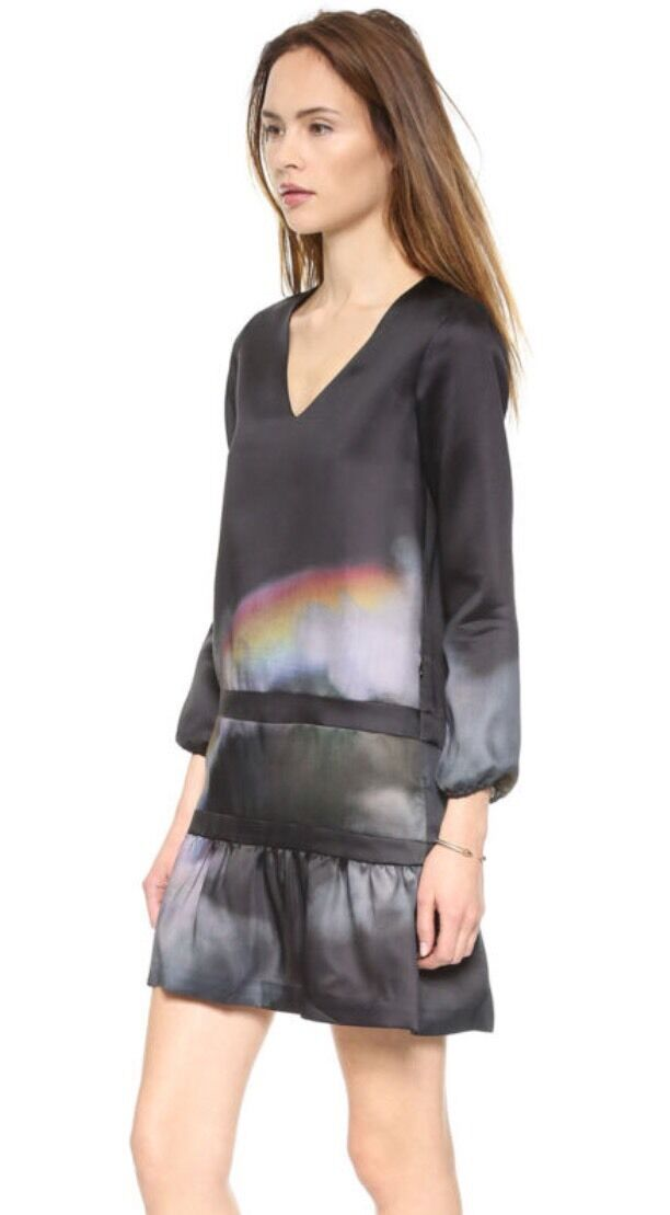 Cynthia Rowley Moonbow Deep V Flounce Tunic  Beautiful  Retail  Größe 4 NWT