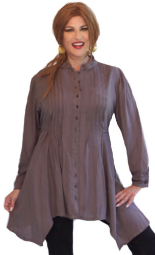 Boho Hippie Shirt Top Pin Tuck Pleats Long Sleeve LotusTraders L958 All Sizes