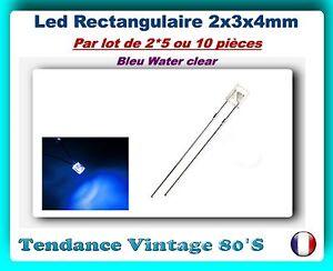 LOT-DE-2-5-OU-10-LED-BLEU-WATER-CLEAR-RECTANGULAIRE-2X3X4MM-400MCD