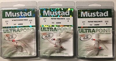 Mustad 233BLNWCH Size 2 4 6  White Chart Dressed Feather Treble Hooks Pack of 2