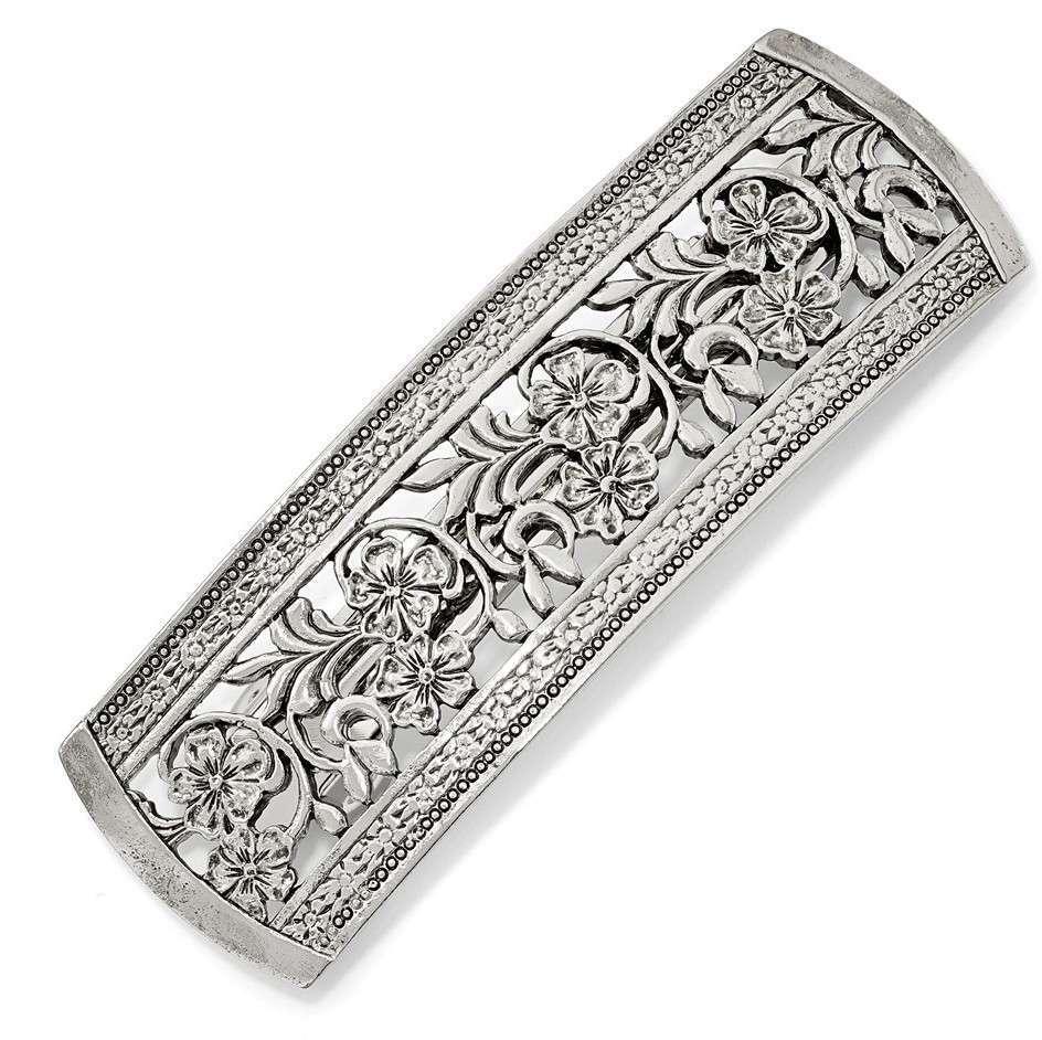 1928 Jewelry - Pretty Silver-tone Flower Hair Barrette