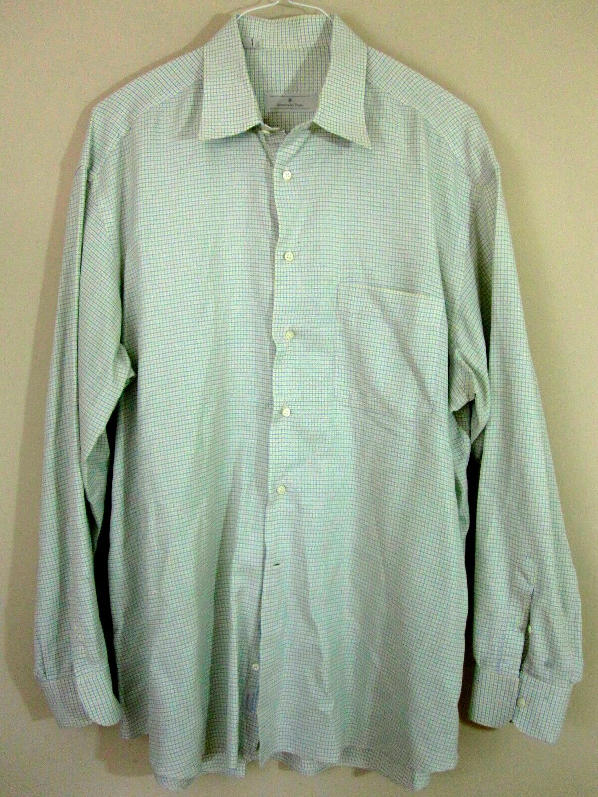 Ermenegildo Zegna Shirt XL 43 17 bluee Yellow Micro Plaid Extra Large Mens