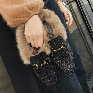 Womens-Flat-Heel-Sequins-Rabbit-Fur-Lined-Shoes-Casual-Slippers-Mules-Horsebit