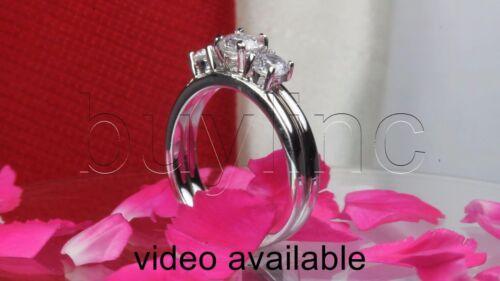 THREE STONE STERLING SILVER NICKEL FREE 925 WOMENS ENGAGEMENT /& WEDDING RING SET