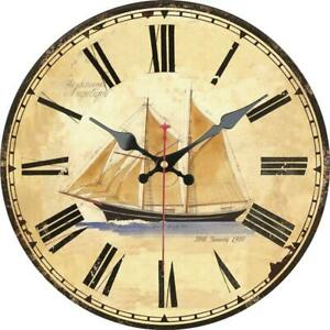 Retro-Round-Wooden-Wall-Clock-Sailing-Boat-Ocean-For-Home-Office-Wall-Decor