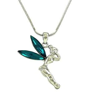 Silvertone disney fairy tinkerbell pendant necklace teal blue image is loading silvertone disney fairy tinkerbell pendant necklace teal blue aloadofball Gallery