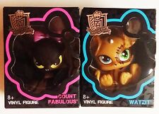 *2 PACK*  MONSTER HIGH VINYL FIGURES WATZ IT TEDDY BEAR AND COUNT FABULOUS BAT