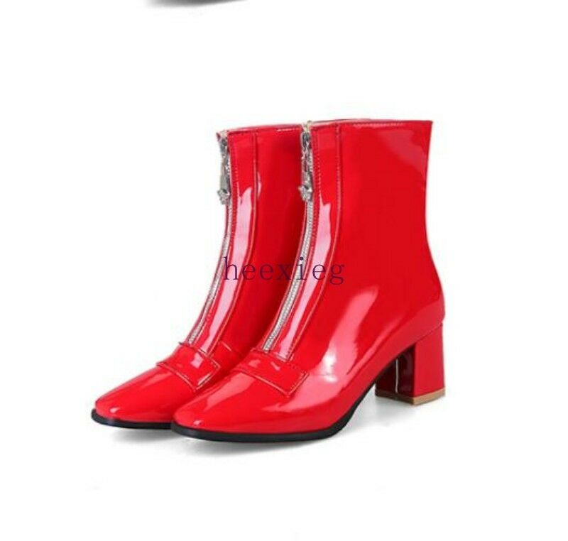 Europa Punk para Mujer Caballero Zapatos botas al tobillo tobillo tobillo con cremallera Club nocturno Charol Tamaño  alta calidad
