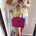 Michael Kors Medium Selma Messenger Crossbody Handbag Fuschia Saffiano NWT