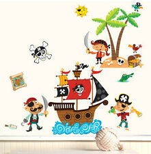 WALLIES PIRATES wall stickers MURAL 16 big decals SHIP treasure map skull decor
