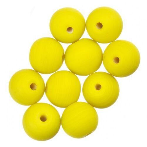 Matte Yellow Round Handmade Indian Glass Bead 10mm PK10 A33//9