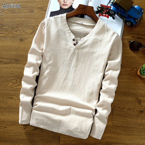 Estate uomo cinese LINO VINTAGE etnicamente Top T-Shirt Camicia Scollo V