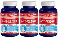 Hyaluronic Acid Powder - Anti Wrinkle Natural Formula - 3 Bottles, 180 Capsules