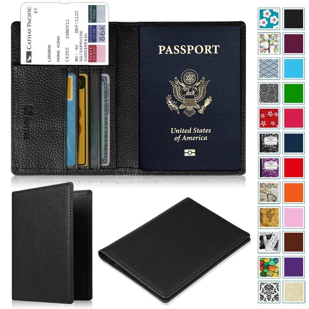 Premium Vegan Leather Passport Holder Travel Wallet RFID Blocking Case... - s l1600