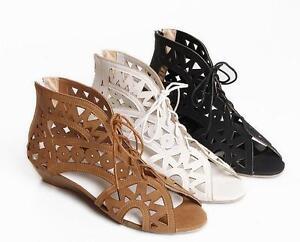 Detalles de Sandalias Botas Verano Perforado Mujer Disponibles Negro Tamaño 35 Talón 3.3 Cm