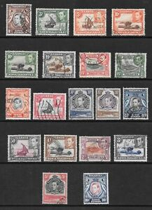 1938-King-George-VI-SG131-to-SG149b-10-Set-of-19-Stamps-Fine-Used-KUT