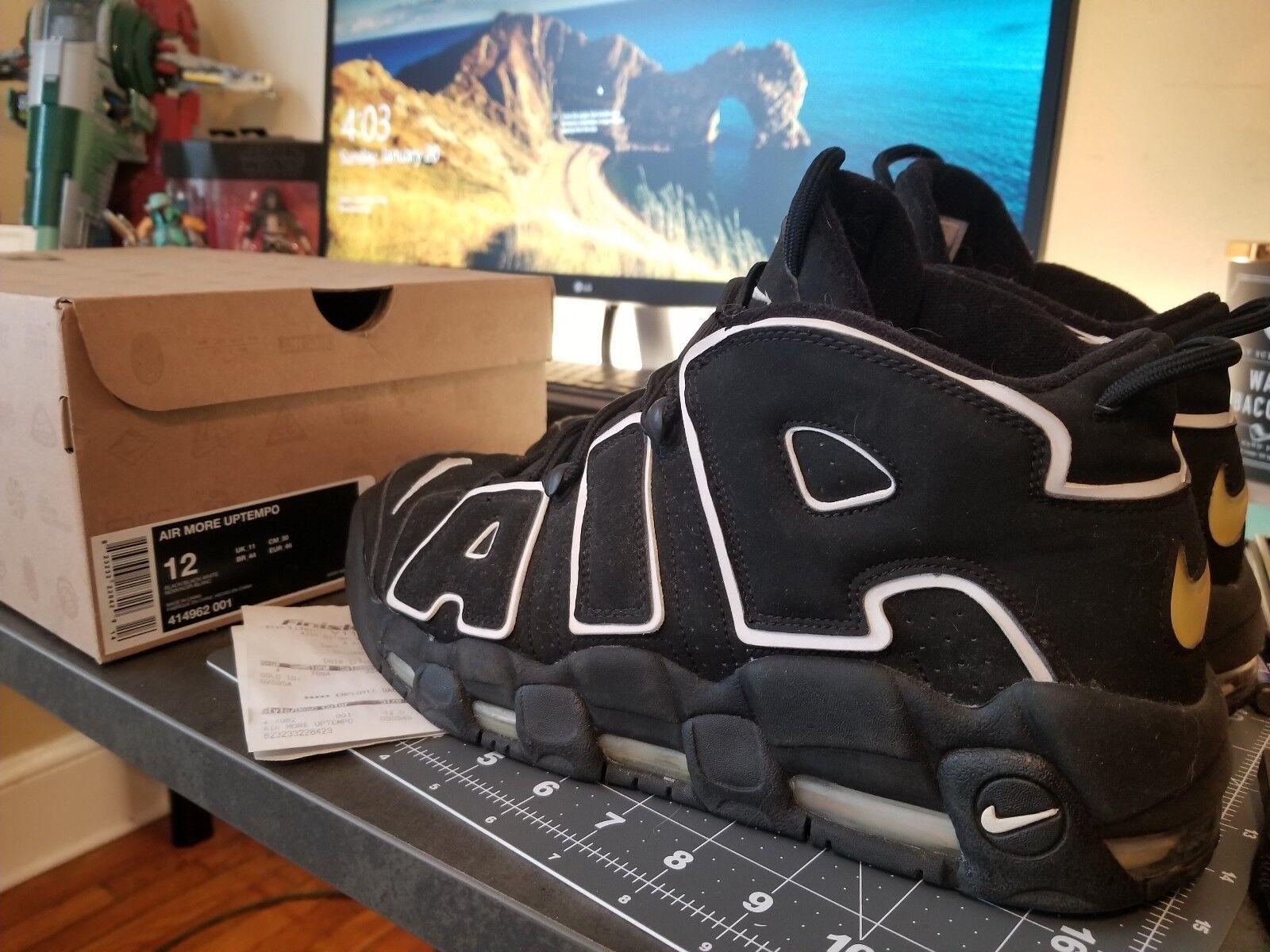 Supreme Nike Air More Uptempo Black White Sz. 12 414962-001