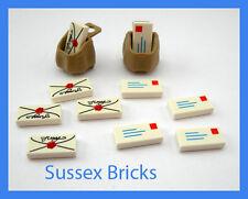 Lego City - 10x Letters Mail Post Script Envelope Tiles + 2x Sacks Bags - NEW