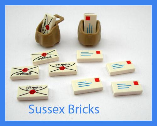 2x Sacks Bags 10x Letters Mail Post Script Envelope Tiles NEW Lego City