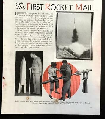 1st Rocket Mail Flight 1934 Austrian Vintage Pictorial Knappe Verschijning