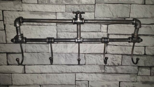 Garden Mile Retro Victorian Style Industrial Pipework Wall Mounted Classy Wall Mounted Coat Hook Rack