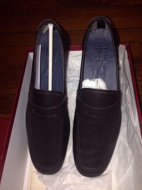 ce6f45a6bd0 Salvatore Ferragamo NUEVO Penny Loafers Shoe Hickory Pebble Leather Size 8 D