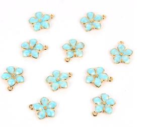 5 un oro esmalte azul flor encantos 17mm Jewllery hacer colgantes