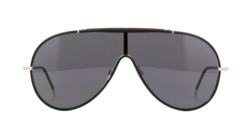 Tom Ford MACK FT 0671 Black Leather And Gold//Smoke 01A Sunglasses