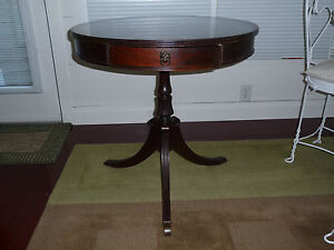 Solid Wood Cherry Pedestal Drum Table