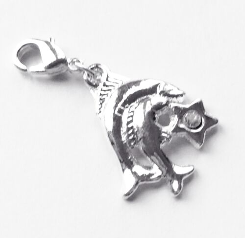 Lot of  6 Dolphins  Pewter Charms Silver plaited 34 Diam.