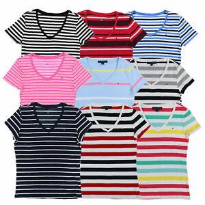 Tommy-Hilfiger-Mujer-Cuello-en-V-Camiseta-a-rayas-de-manga-corta-Camiseta-Flag-Logo-Nuevo-Nuevo-Con
