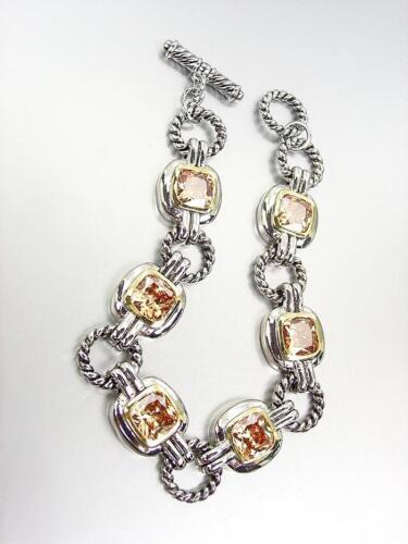 Exquisite Silver Câble Anneaux Marron Topaz Zircon Cristal Liens Toggle Bracelet