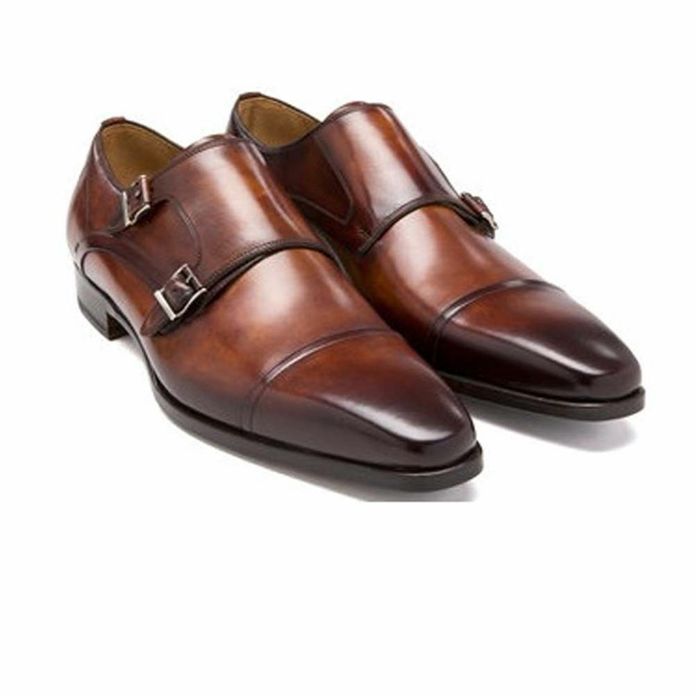 Mens Oxford Two color Tone Brown Monk Leather shoes Three Buckle straps shoes