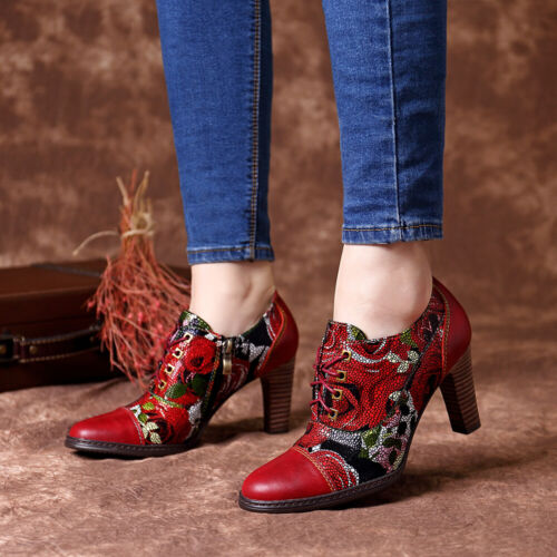 SOCOFY Women Genuine Leather Pumps Flowers Splicing Stitching Zipper Shoes