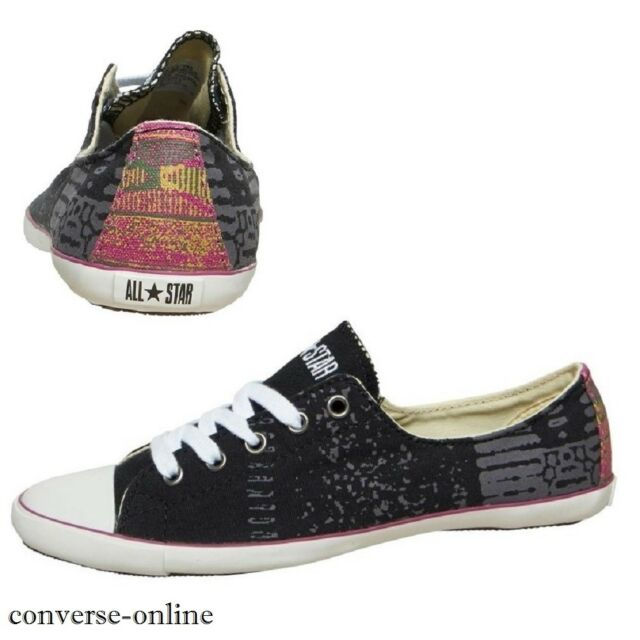 68f9883deee5 Womens Girls CONVERSE All Star Light Ox BLACK WHITE Low Trainers Shoes UK  SIZE 3