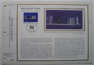 NICOLAS-DE-STAEL-Feuillet-CEF-Timbre-1er-jour-SOIE-1985