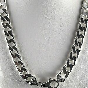 Heavy-24-034-14-5mm-Solid-925-Sterling-Silver-Cuban-Link-Curb-Chain-185-Grams-Italy