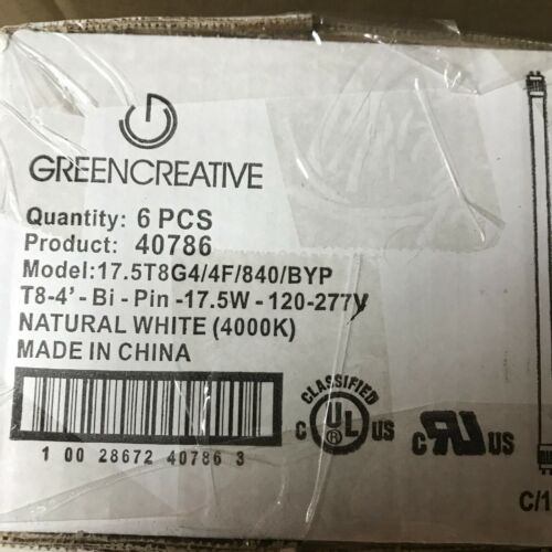 120-277 40786 BOX OF 6 GREEN CREATIVE T8 REPLACEMENTS LED DIRECT LINE VOLTAGE