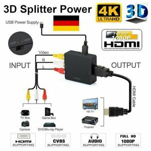 Mini AV to HDMI Video Audio Konverter 1080P 3 RCA CVBS zu HDMI Adapter Converter