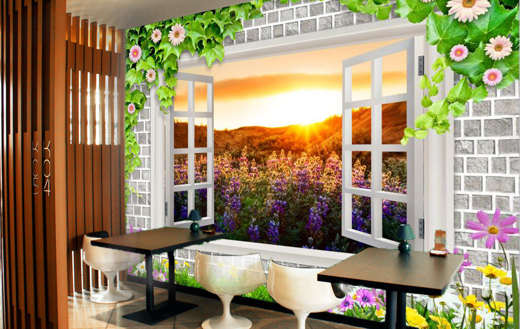 3D Windows Mountain Flowers 632 Wall Paper Wall Print Decal Wall AJ WALLPAPER CA