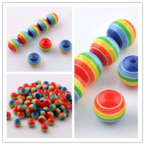 Livraison gratuite Coloré Arc-en-résine Spacer Beads Charms Findings 6 mm 8 mm 10 mm