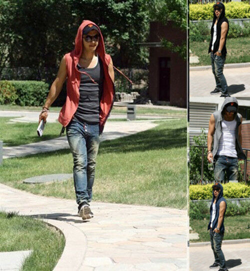 Cool Men's Pure Casual Sleeveless Slim Fit Cardigan Hooded Vest 4 Colors