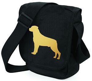 Rottweiler-Dog-Bag-Shoulder-Bags-Metallic-Gold-Dog-on-Black-Handbag-Xmas-Gift