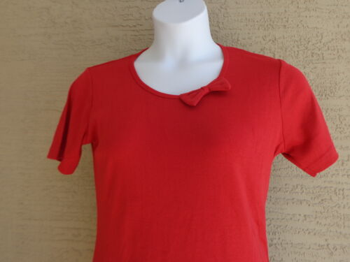 Being Casual Ribbed Cotton Blend Knit Scoop Neck with Bow Tee Top 2X Red
