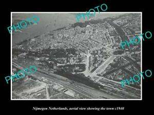 OLD-LARGE-HISTORIC-PHOTO-NIJMEGEN-NETHERLANDS-HOLLAND-TOWN-AERIAL-VIEW-c1940-1