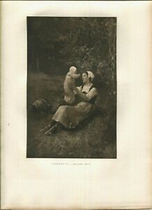 ANTIQUE FARM WOMAN NEW BABY WICKER BASET NATURE WOODS PASTURAL BROWN INKS PRINT
