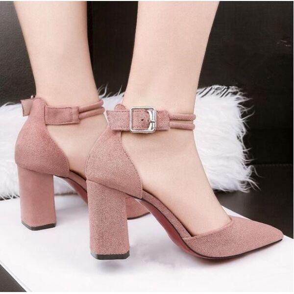 Decolte sandali donna eleganti rosa cinturino 8.5 simil cm quadrato simil 8.5 pelle CW465 2a0524