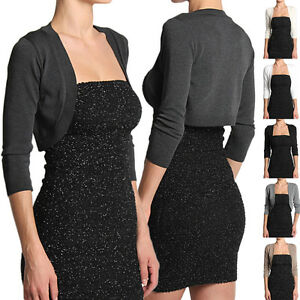 Themogan S3x 34 Sleeve Knit Sweater Crop Cardigan Dress Cover Up